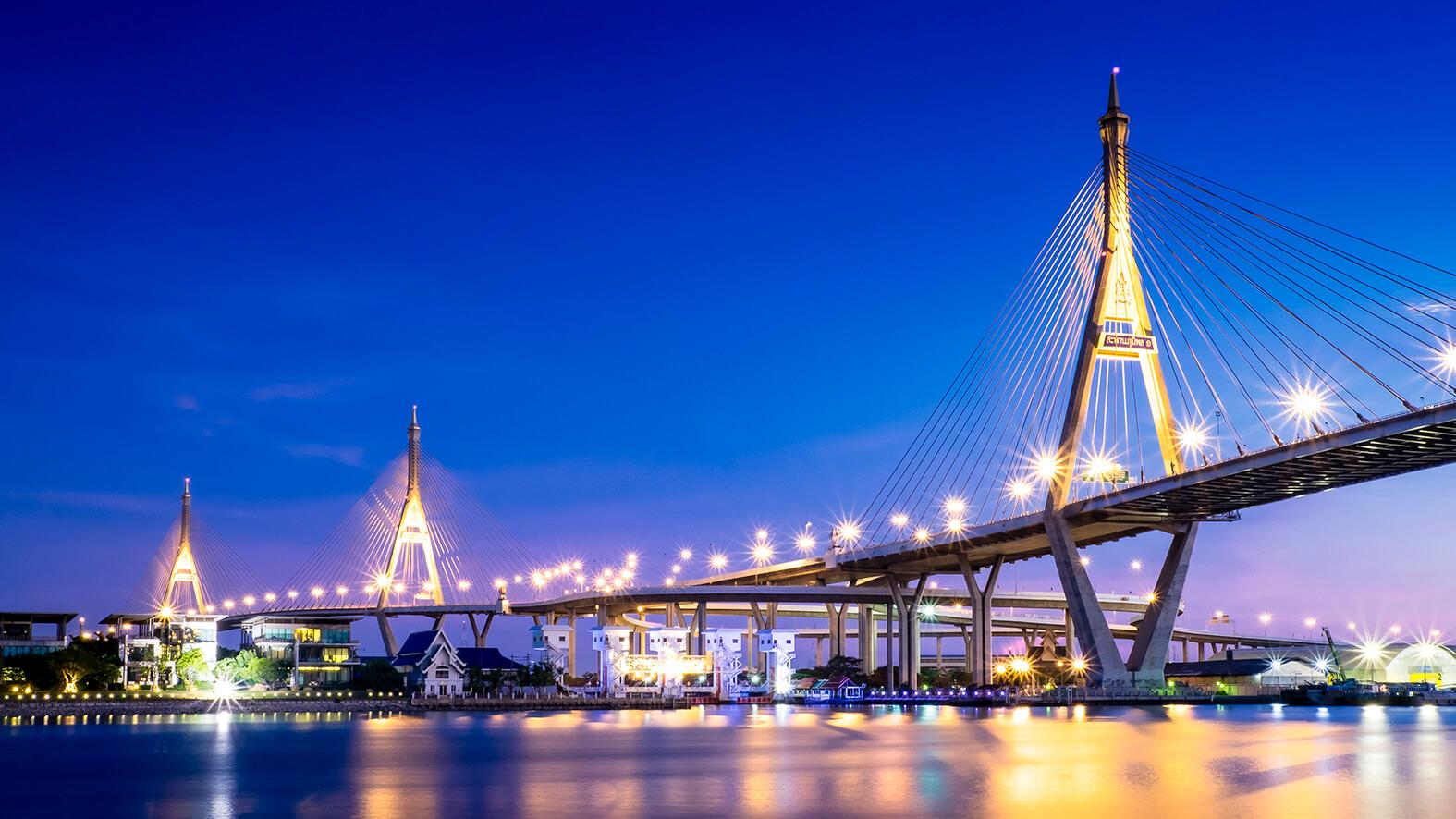 Huge Bridge over River in Bangkok, Thailand